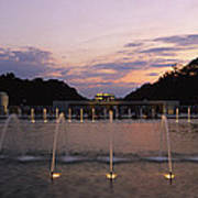 A Night View Of Memorial Plaza Print by Richard Nowitz