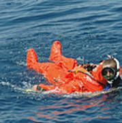 A Sailor Rescued By A Diver Print by Stocktrek Images