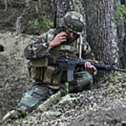 A Soldier Communicates His Position Print by Stocktrek Images