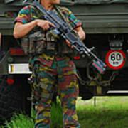 A Soldier Of An Infantry Unit Print by Luc De Jaeger