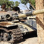 A T-72 Tank Destroyed By Nato Forces Print by Andrew Chittock