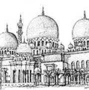 Abu Dhabi Masjid In Ink  Print by Adendorff Design