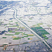 Aerial View Of Flooded Farmland Print by Jeremy Woodhouse