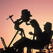 Amateur Astronomers With Meade 2080 20cm Telescope Print by John Sanford