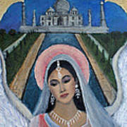 Amishi An Earth Angel Representing A Young Bride On Her Wedding Day Print by The Art With A Heart By Charlotte Phillips