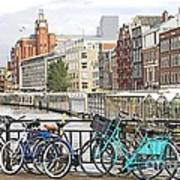 Amsterdam Canal And Bikes Print by Giancarlo Liguori