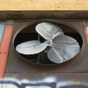 An Exhaust Fan At A Ventilation Outlet Print by Nathan Griffith