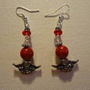 Angels In Red Earrings Print by Jenna Green