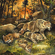 Animals United In Terror As They Flee From A Forest Fire Print by G W Backhouse