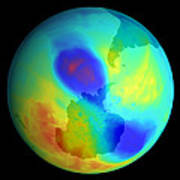 Antarctic Ozone Hole, September 2002 Print by Nasa