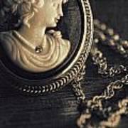 Antique Cameo Medallion On Wood Print by Sandra Cunningham