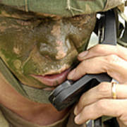 Army Master Sergeant Communicates Print by Stocktrek Images