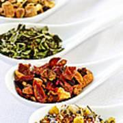 Assorted Herbal Wellness Dry Tea In Spoons Print by Elena Elisseeva