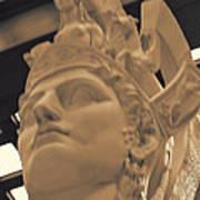Athena Sculpture Sepia Print by Linda Phelps