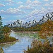 Autumn Mountains Lake Landscape Print by Georgeta  Blanaru