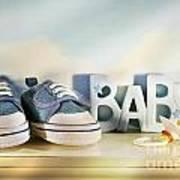 Baby Denim Shoes Print by Sandra Cunningham