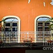Balcony With Palms Print by Perry Webster