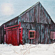 Barn In Snow Southbury Ct Print by Stuart B Yaeger