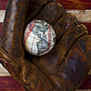 Baseball Mitt With Earth Baseball Print by Garry Gay