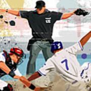 Baseball Player Safe At Home Plate Print by Greg Paprocki