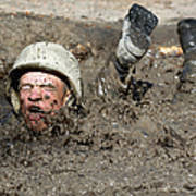 Basic Cadet Trainees Attack The Mud Pit Print by Stocktrek Images