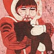 Batik -girl W Bear- Print by Lisa Kramer