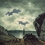 Bay Scene In Moonlight Print by John Warwick Smith