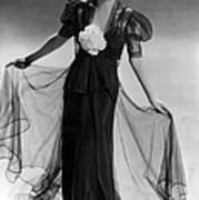 Bette Davis Wearing Black Taffeta Gown Print by Everett