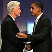 Bill Clinton, Barack Obama At A Public Print by Everett