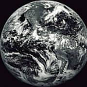 Black And White Image Of Earth Print by Stocktrek Images