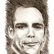Black And White Pencil Portrait Print by Mario Perez