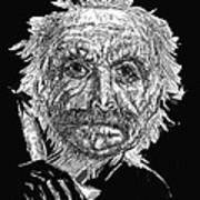 Black And White With Pen And Ink Drawing Of A Old Man  Print by Mario  Perez