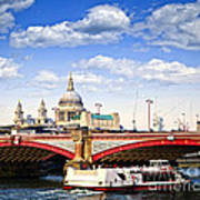 Blackfriars Bridge And St. Paul's Cathedral In London Print by Elena Elisseeva