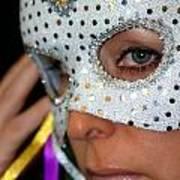 Blond Woman With Mask Print by Henrik Lehnerer