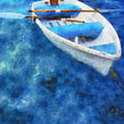Blue And White. Lonely Boat. Impressionism Print by Jenny Rainbow