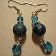Blue Ball Sparkle Earrings Print by Jenna Green