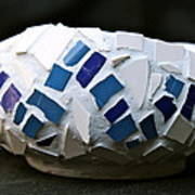 Blue Mosaic Bowl Print by Ghazel Rashid