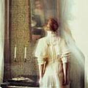 Blurry Image Of A Woman In Vintage Dress  Print by Sandra Cunningham