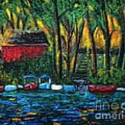 Boat Dock In The Evening Print by Reb Frost