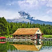 Boathouse On Mountain Lake Print by Elena Elisseeva