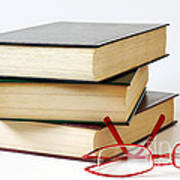 Books And Glasses Print by Carlos Caetano
