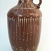 Bottle Of Deep Red Clay With White Slip Decoration And A Handle Print by Carolyn Coffey Wallace