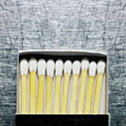Box Of Wooden Matches On Stainless Steel. Print by Ballyscanlon