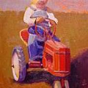Boy On Tractor Print by The Vintage Painter