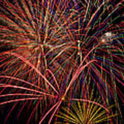 Bright Colorful Fireworks Print by Garry Gay