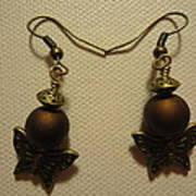 Butterfly Brown Earrings Print by Jenna Green