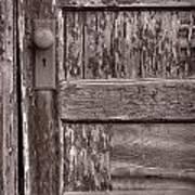 Cabin Door Bw Print by Steve Gadomski