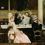 Cafe Scene In Paris Print by Henri Gervex