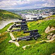Cannons On Signal Hill Near St. John's Print by Elena Elisseeva