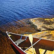 Canoe On Shore Print by Elena Elisseeva